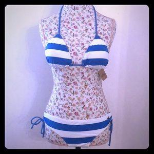 (NWT) Hollister Blue & White Bikini